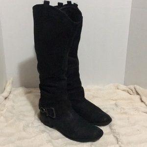 Aldo Black Leather Knee High Boots